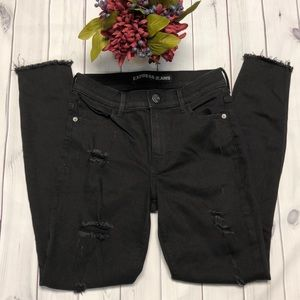 Express size 2 black distressed/ripped jeans